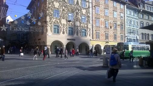 Straße am Hauptplatz in Graz