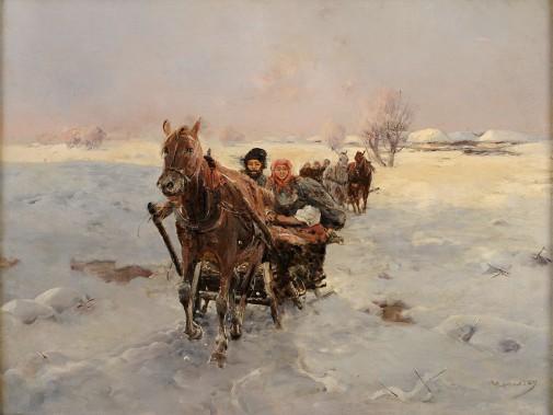 Jan Konarski: Ausfahrt der Pferdeschlitten (Wikimedia Commons)