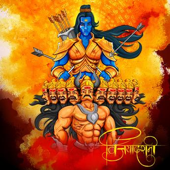Gott Rama über Ravana